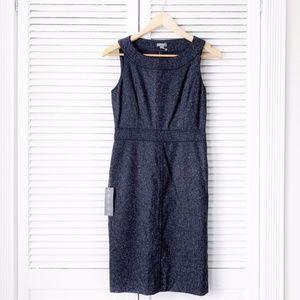 LOFT Wool Tweed Charcoal Grey Sheath Dress NWT